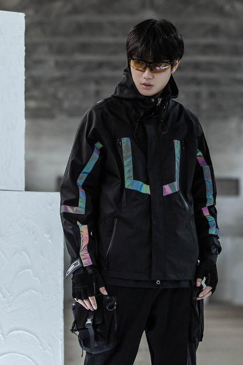 ENSHADOWER隐蔽者国潮格子反光条冲锋衣男工装连帽机能风夹克外套