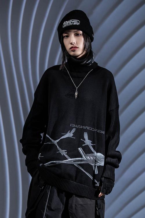 ENSHADOWER隐蔽者潮牌金属印花高领毛衣秋冬黑色宽松情侣装针织衫
