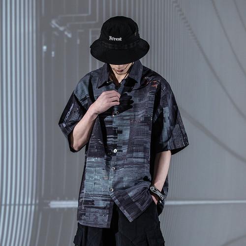 ENSHADOWER隐蔽者机能满印撕裂格式衬衫男夏季休闲短袖衬衣外套潮