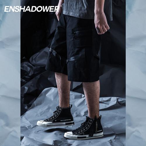 ENSHADOWER隐蔽者多口袋机能伞兵短裤宽松工装雪地迷彩五分裤男潮