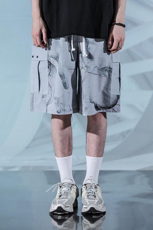 ENSHADOWER隐蔽者潮牌裂纹短裤男夏季休闲运动沙滩五分裤宽松中裤