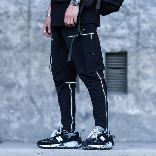 ENSHADOWER隐蔽者国潮长裤男潮牌反光线条束脚裤机能工装休闲裤