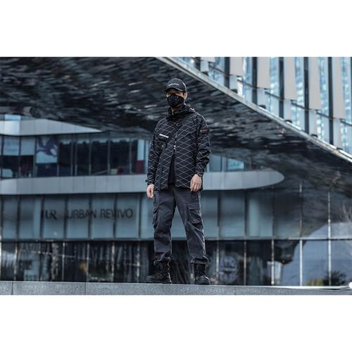 ENSHADOWER隐蔽者新品菱格纹冲锋衣外套男国潮机能风连帽春秋夹克