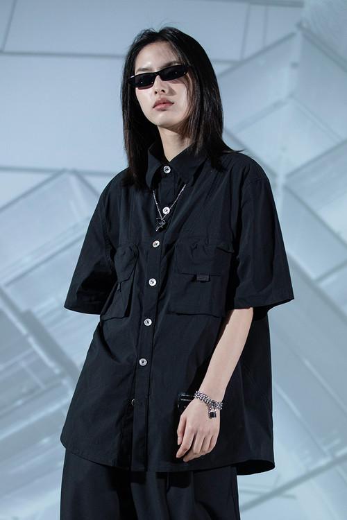 ENSHADOWER隐蔽者男女宽松短袖衬衫新款夏季双口袋休闲黑色衬衣潮