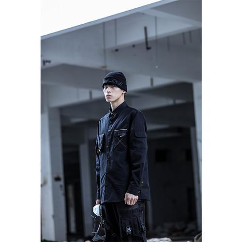 ENSHADOWER隐蔽者xCAT联名款线迹口袋衬衫男纯棉长袖潮牌休闲衬衣