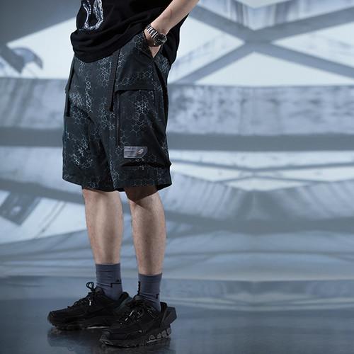 ENSHADOWER隐蔽者满印电子蜂巢印花短裤男宽松潮流直筒休闲五分裤