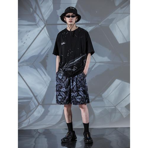ENSHADOWER隐蔽者夏季潮牌玻璃碎片印花短袖T恤男纯棉宽松体恤衫
