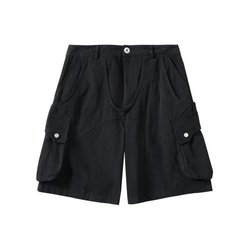 ENSHADOWER隐蔽者夏季黑色短裤男水洗异形活页工装五分裤休闲中裤
