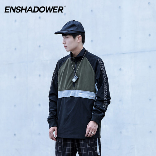 ENSHADOWER隐蔽者秋季套头夹克外套男拼色立领皮肤衣宽松冲锋衣潮