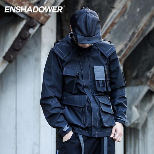 ENSHADOWER隐蔽者多口袋机能冲锋衣男黑色连帽休闲外套工装夹克潮