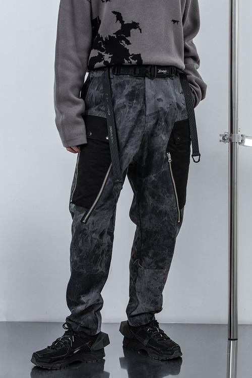 ENSHADOWER隐蔽者潮牌直筒宽松扎染牛仔裤休闲长裤男复古工装裤子