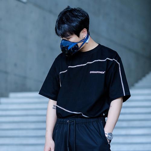 ENSHADOWER隐蔽者潮牌半袖结构辑线短袖T恤男宽松纯棉印花打底衫