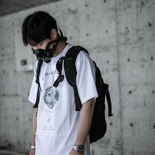 ENSHADOWER隐蔽者机械行星贴布印花短袖T恤男潮流纯棉半截袖体恤