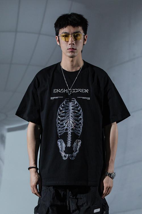 ENSHADOWER隐蔽者水晶骨骼结构短袖t恤男宽松新疆棉情侣体恤潮夏