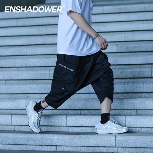 ENSHADOWER隐蔽者国潮多口袋短裤男夏季宽松运动七分低裆裙裤中裤