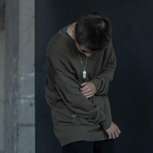 ENSHADOWER隐蔽者国潮破坏毛衣男秋冬款圆领宽松针织线衣复古上衣