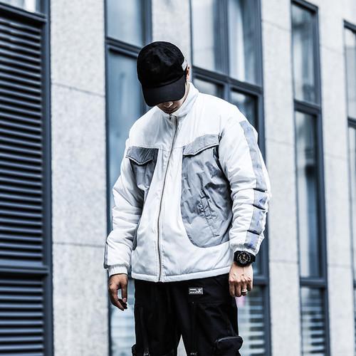 ENSHADOWER隐蔽者冬季潮牌反光条拼色棉服男机能风外套国潮印花