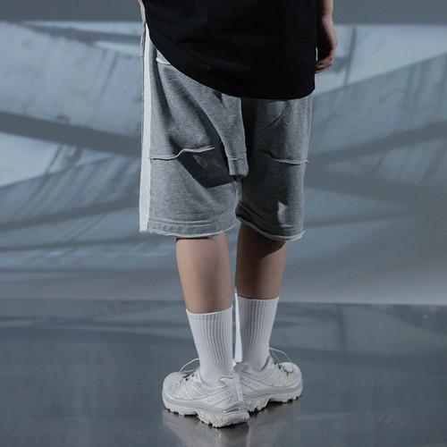 ENSHADOWER隐蔽者潮流短裤男夏针织拼接五分裤休闲新疆棉运动中裤