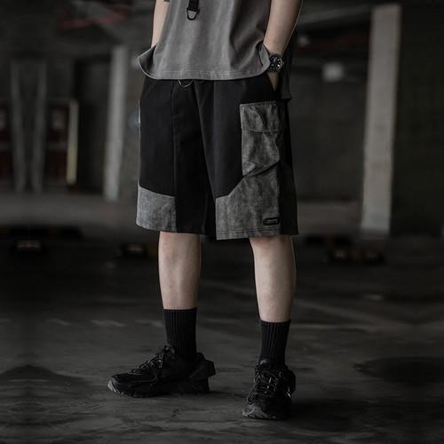 ENSHADOWER隐蔽者异质拼接脏洗短裤男新款宽松工装五分裤休闲中裤