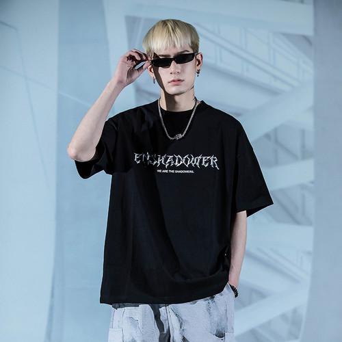 ENSHADOWER隐蔽者国潮金属logo印花短袖T恤黑色休闲宽松体恤上衣