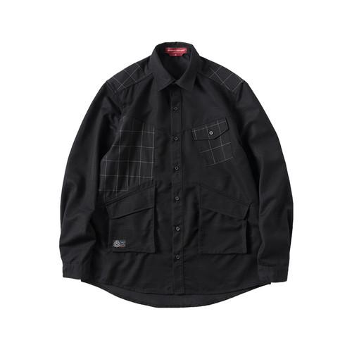ENSHADOWER隐蔽者暗纹格子拼块衬衫多口袋长袖衬衣