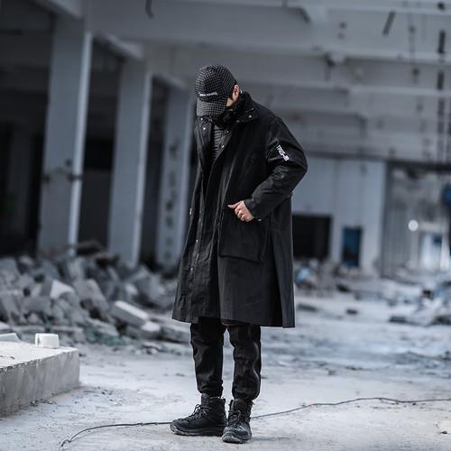 ENSHADOWER隐蔽者中长款异质拼接外套风衣新款黑色潮男机能风夹克