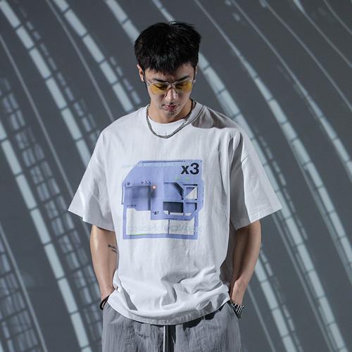 ENSHADOWER隐蔽者新款模块印花短袖T恤男宽松国潮半袖新疆棉上衣