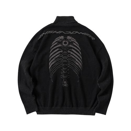 ENSHADOWER隐蔽者暗纹机械脊柱肋骨骼印花毛衣黑色高领秋冬针织衫