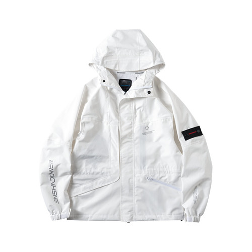 ENSHADOWER隐蔽者廓形压胶多口袋冲锋衣夹克男白色宽松连帽外套潮