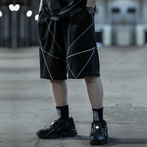 ENSHADOWER隐蔽者潮牌新品网洞绗缝反光短裤男宽松休闲五分裤中裤