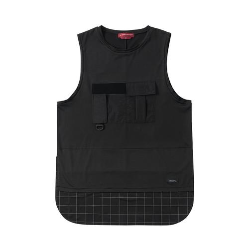 ENSHADOOWER隐蔽者潮牌假两件格子拼接背心T恤宽松工装坎肩打底衫