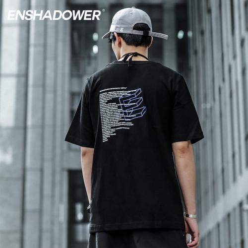 ENSHADOWER隐蔽者立体字母E短袖T恤男潮牌休闲体恤纯色圆领上衣