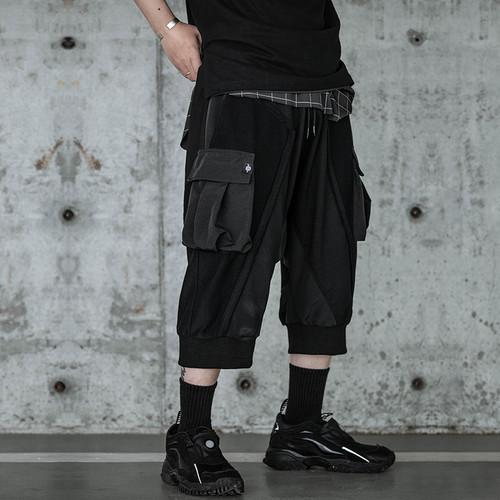 ENSHADOWER隐蔽者新款异质毛圈七分垮裤机能风宽松潮男多口袋短裤