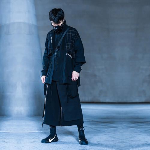 ENSHADOWER隐蔽者秋季格子拼接道袍外套男黑色七分袖国风潮牌夹克