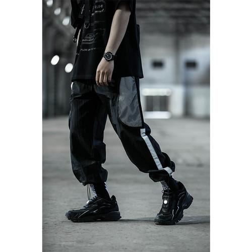 ENSHADOWER隐蔽者网洞拼接抽绳束脚裤男潮牌宽松反光条薄款休闲裤