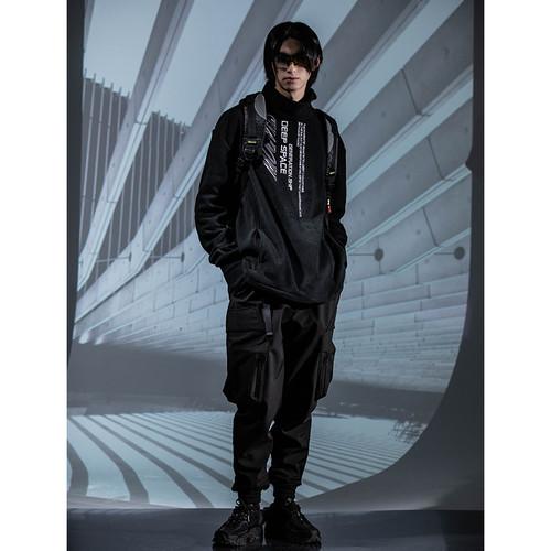 ENSHADOWER隐蔽者国潮加绒束脚裤男秋冬季黑色宽松工装裤休闲长裤
