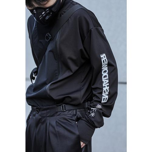 ENSHADOWER隐蔽者新品双拉链高领长袖T恤男潮牌印花打底衫上衣