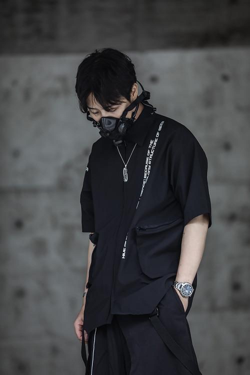 ENSHADOWER隐蔽者大口袋短袖衬衫潮流印花黑色五分袖休闲宽松衬衣