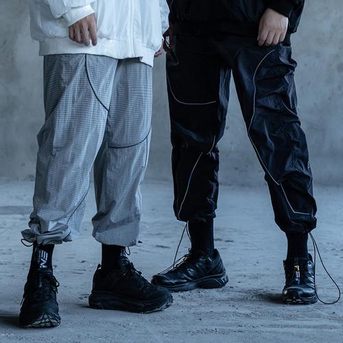 ENSHADOWER隐蔽者镭射反光条抽绳裤男宽松潮流工装束脚裤休闲长裤
