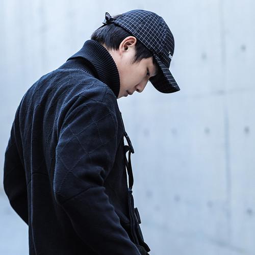 ENSHADOWER隐蔽者冬季新款马甲拼接高领毛衣男黑色宽松长袖针织衫