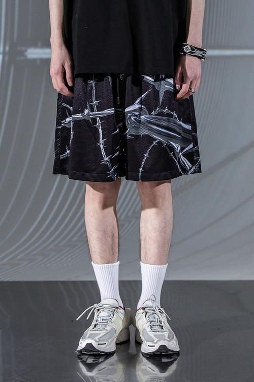 ENSHADOWER隐蔽者潮流满印荆棘运动短裤男夏季宽松网洞五分休闲裤
