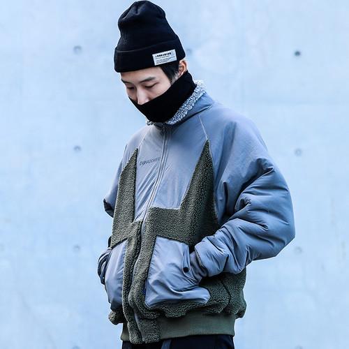 ENSHADOWER隐蔽者羊羔绒异质拼接夹克男潮牌宽松立领外套工装棉衣