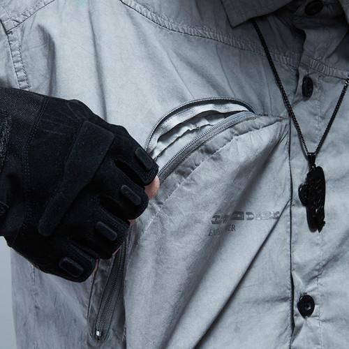 ENSHADOWER隐蔽者复古脏洗曲线口袋衬衫男宽松长袖情侣衬衣外套潮