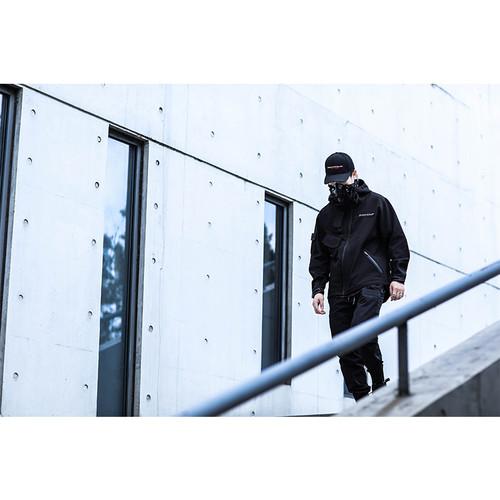 ENSHADOWER隐蔽者斜拉链软壳冲锋衣外套男冬季黑色加绒连帽夹克潮
