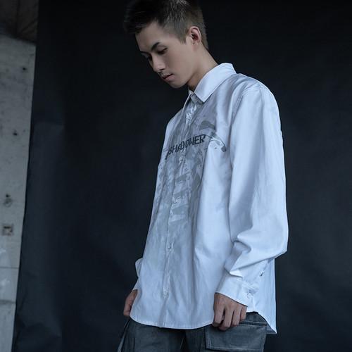 ENSHADOWER隐蔽者骨骼印花衬衫男潮牌宽松机能风休闲长袖衬衣外套