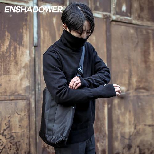 ENSHADOWER隐蔽者高领毛衣男 纯棉针织衫简约长袖男毛线衣