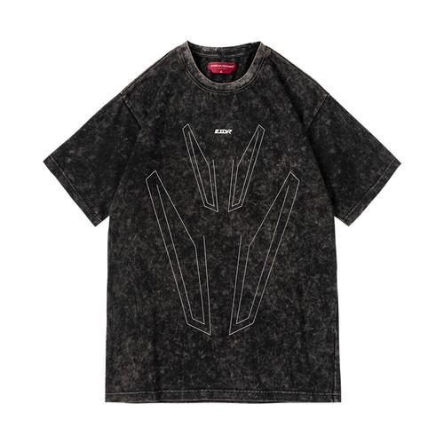 ENSHADOWER隐蔽者国潮矩形线条印花短袖T恤复古做旧宽松打底衫男