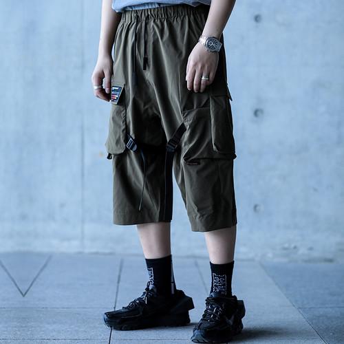 ENSHADOWER隐蔽者潮牌多口袋飘带七分裤男工装伞兵短裤宽松垮裤