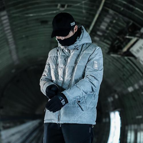 ENSHADOWER隐蔽者划痕特殊质感羽绒服国潮连帽外套冬装加厚羽绒衣