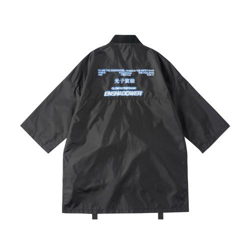 ENSHADOWER隐蔽者新品暗纹格子织带道袍黑色七分袖外套男宽松夹克